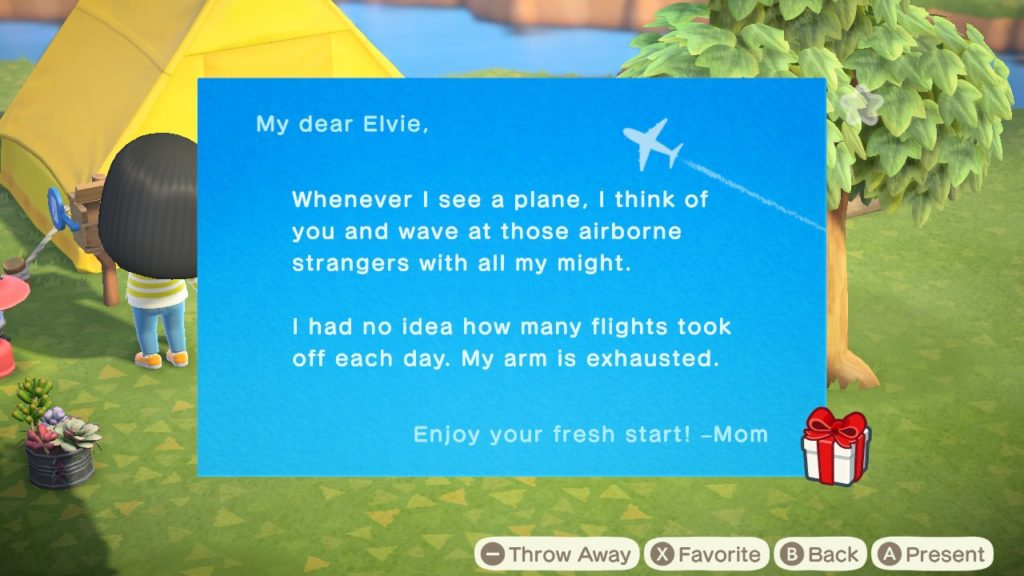 Close up of a letter with an airplane design that reads: 'My dear Elvie, Whenever I see a plan I think of you and wave at those airborne strangers with all my might. I had no idea how many flights took off each day. My arm is exhausted. Enjoy your fresh start! -Mom'