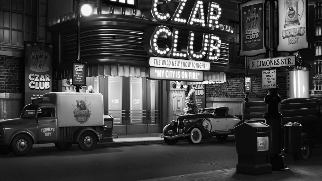 "A black and white monochromatic scene of a street at night. The view is centered on a night club with a marquee sign lit with ""CZAR CLUB"". Vintage-styled cars are scattered and park along the empty street."