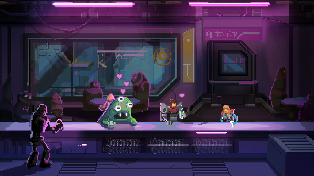 A three-eyed alien with a bow has several hearts hovering over it. Two other figures sit next to it and they are all holding a drink, sitting at a bar.