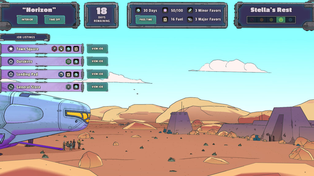 A ship looks across an empty horizon in a desert-like region, with humanoids much smaller in scale standing underneath its nose. Different windows of UI management systems frame the top of the screen.
