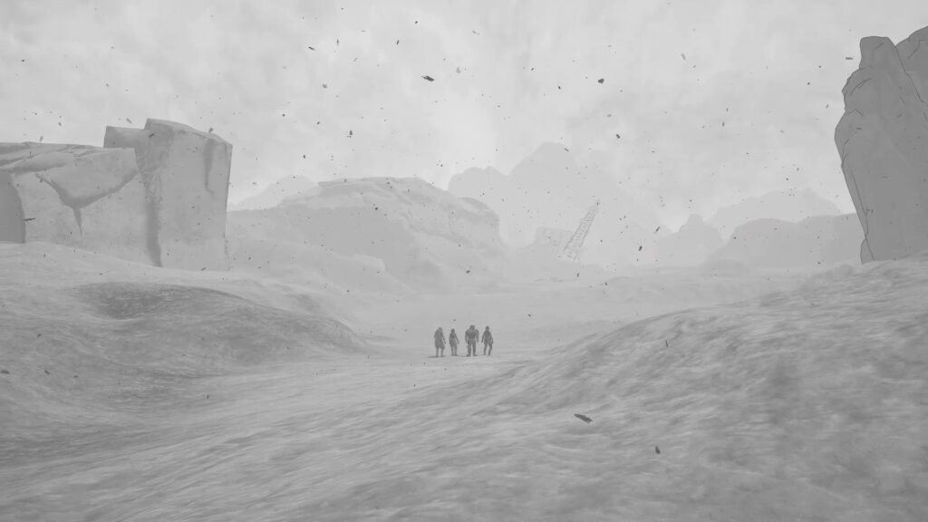A group of silhouettes stand in the center of a vast, empty barren land being sprinkled in ash and fog.