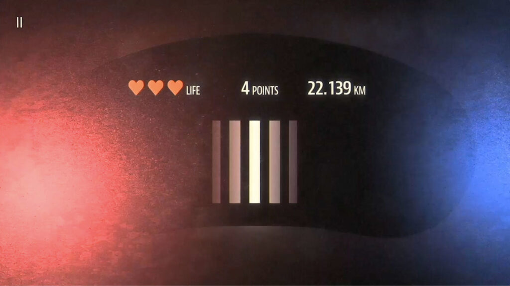 A simple UI interface that features a cluster of vertical lines in the middle, an a life meter on the upper left and a speed rating on the upper right.