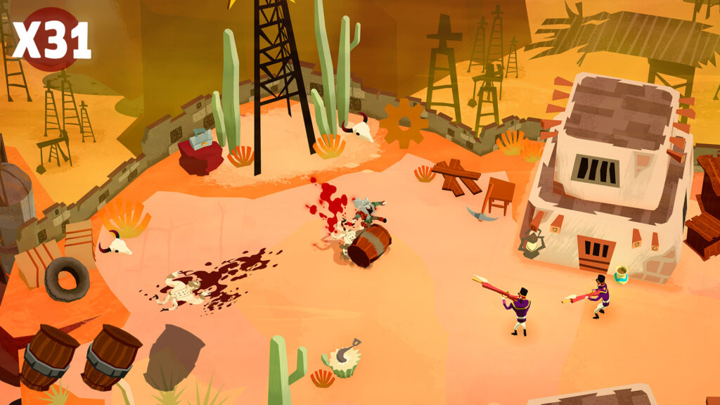 A desert-like scene that features a scattering of people manning weapons. is smeared on some parts of the ground