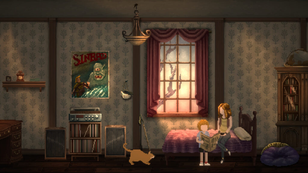 A pair of siblings are looking through a pamphlet, seated on a bed in a shabby, vintage-styled room. A window behind them bleeds in light and an orange cat is crouching to their side on the floor.