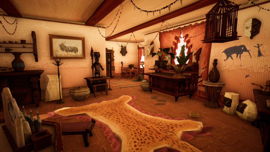 A large room furnished with various pieces that suggest African motifts and themes.