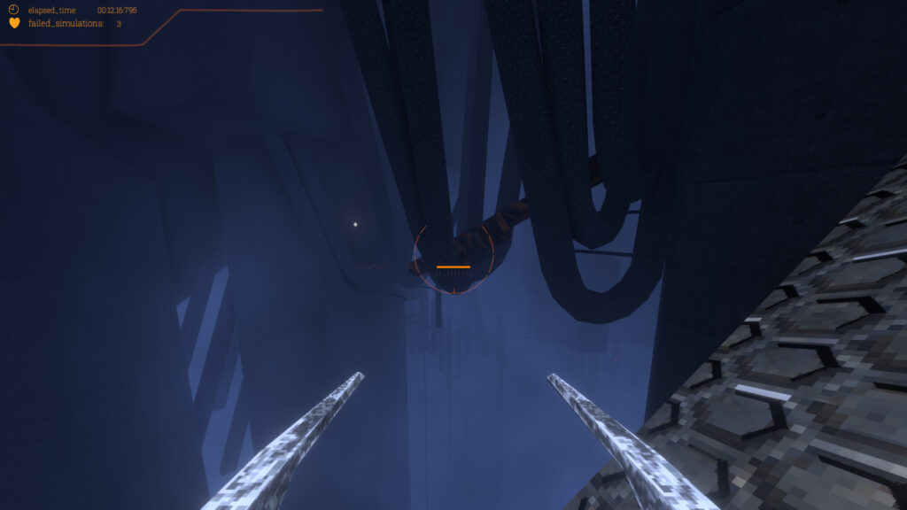 A first person perspective view holding two sharp tools, looking down upon industrial structures hanging over a very open bottom.