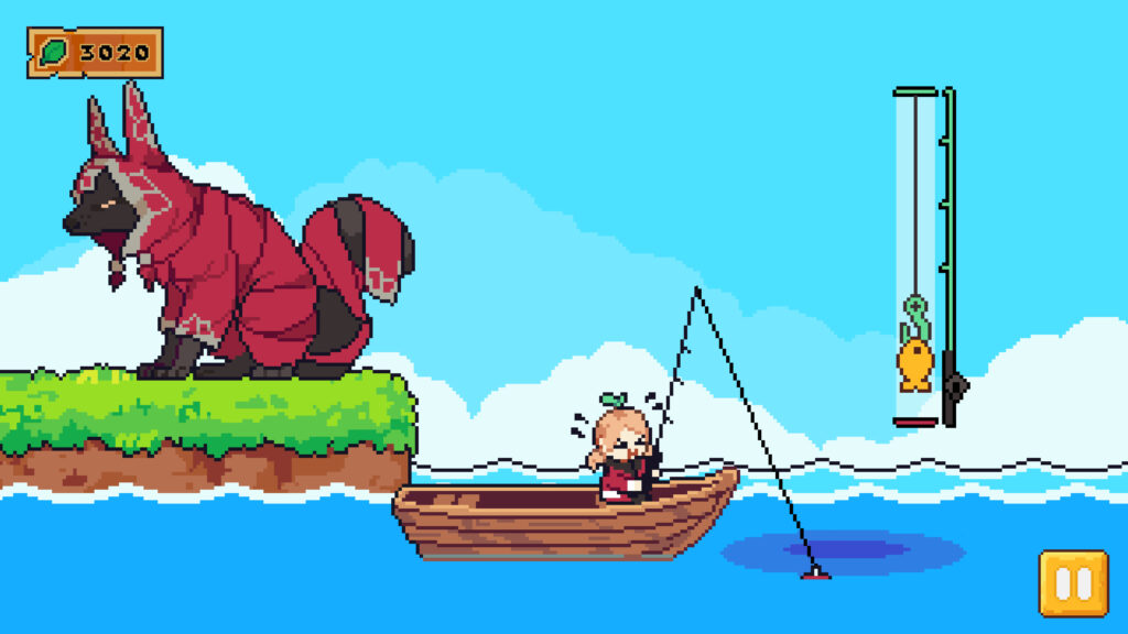 A small girl with blonde pigtails and a green sprout emerging from her heads make a strained face while pulling a fishing line from a boat. In the background, a large, dog-like creature cloaked in a red outfit sits on a small island.