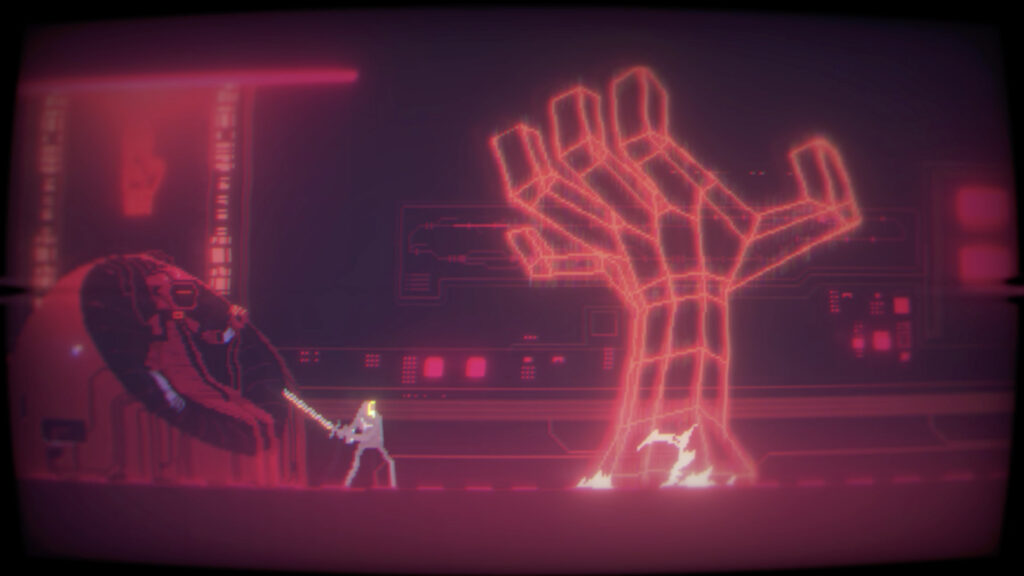 A hazy filtered scene of a humanoid figure harnessing a sword, standing before a large hand, rendered in a 3D mesh-like fashion, emerging from the ground to their right.