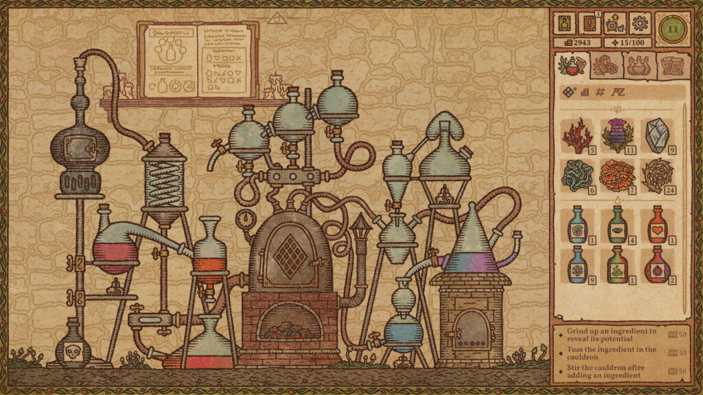 A mechanism of connected vials and glass bottles, visually styled and illustrated like pre-Renaissance illuminated manuscripts.