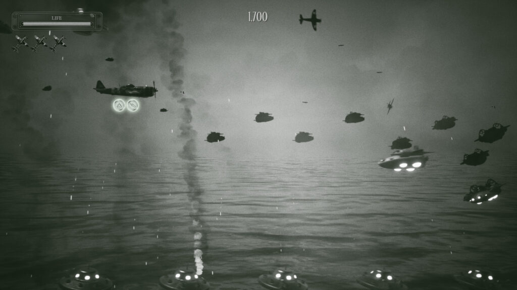 A black and white scene of an aircraft flying to the right, facing incoming alien saucers over the ocean.