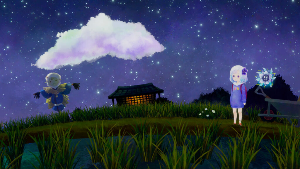 A young girl sporting a purple colored outfit and light blue, short hair looks to the left of the screen as she stands in a farm field. Next to her, is a glowing, floating flower-like being. A scarecrow frowns in the distance.