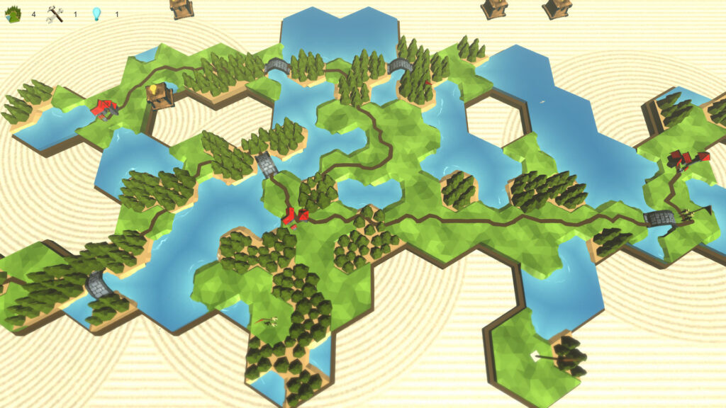 An overview of a map that features varying shapes of land masses and bodies of water, comprised of hexagonal shapes.