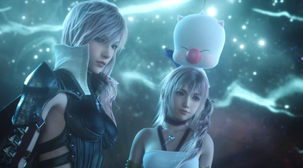 Lightning and Serah, with a moogle over the latter's head, from FFXIII.