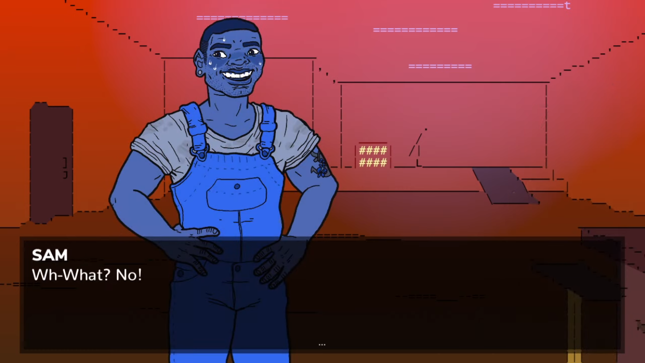 """Here is Sam Godkiller, he's easily the coolest character in this band of dorks. He's also the biggest dork! Here is Sam grinning nervously, looking flustered, and saying """"Wh-What? No!"""""""