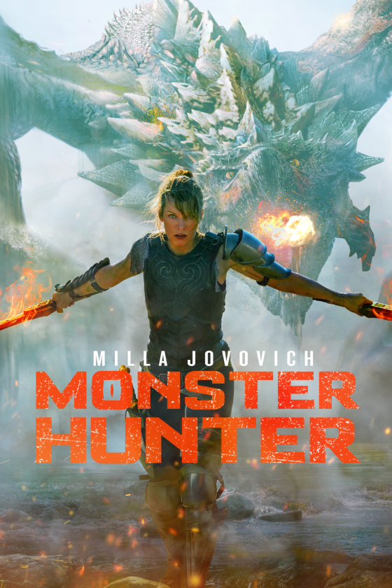 "A poster that features a young woman bearing two blades. She is walking towards the foreground, staring down at the center of the frame as a giant, reptilian-like monster is about to blow fire from its mouth behind her. The words, ""MONSTER HUNTER"" billed with the name ""MILLA JOVOVICH"" on top overlay this scene."