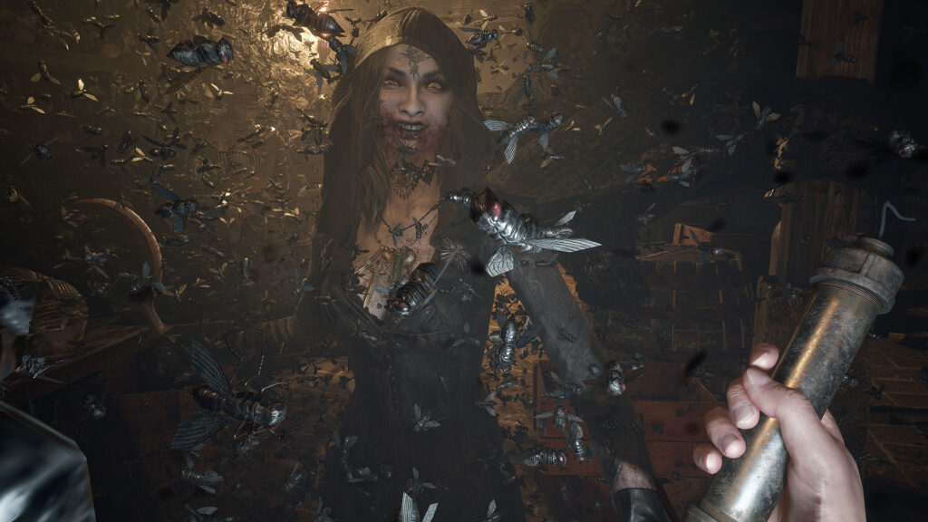 Lady Dimetrescu's daughter, a woman bearing a very goth-like appearance with insects swirling all around the screen, closing in on Ethan, the protagonist, in Resident Evil Village