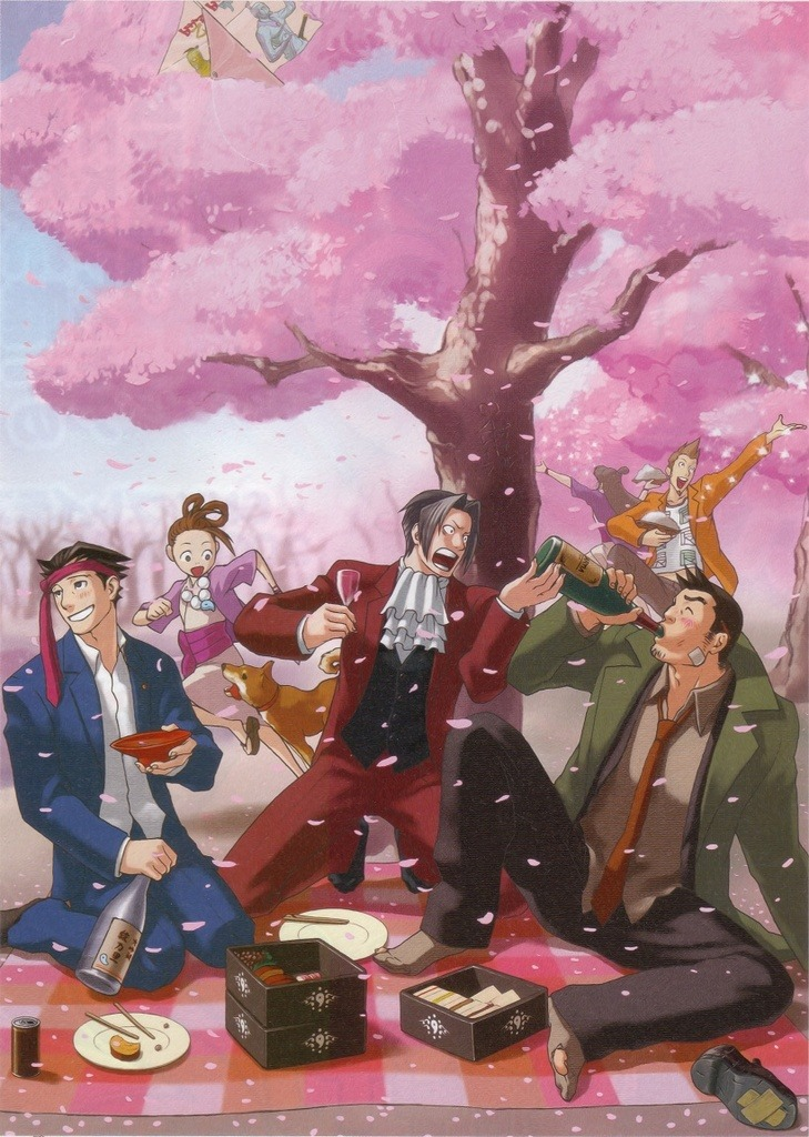 A trio of men are drinking alcoholic beverage and sitting on a picnic blanket underneath a large cherry blossom tree, as pink petals flourish and fall throughout the scene. A young girl is running with a dog in the background, while a pair of people are playing with the petals further in the back.