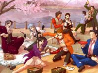 A group of people are having a picnic by a body of water underneath a coupling of cherry blossom trees. One pair is fighting over a lobster with chopsticks while another pair looks on in bewilderment, accidentally tossing wine. Another pair tightly tugs onto a fishing pole from the water.