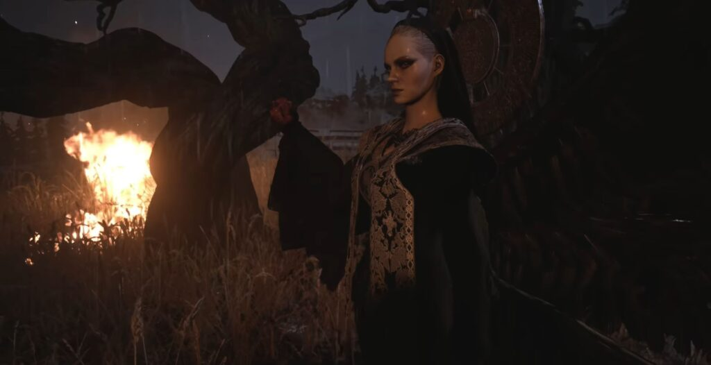 A ghastly woman wearing an outfit that gives her a nun-like appearance stands, looking off-frame with suggestions of a forest setting in the background. She holds what appears to be a heart in one hand.