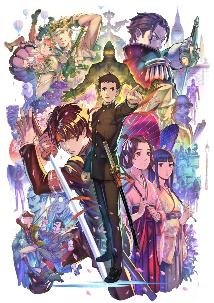 A colorfully illustrated collage of various characters from The Great Ace Attorney series. A young man wearing a black uniform firmly stands in the center, closest to the foreground, pointing to something off-frame.