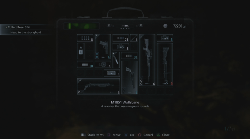 An example of the inventory screen in Resident Evil Village