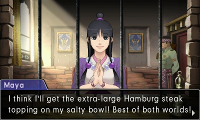 """A young woman with long black hair, a portion of it in a high bun, sits behind a set of bars. With her hands folded, she says, presented in a dialogue box, """"I think I'll get the extra large Hamburg steak topping on my salty bowl! Best of both worlds!"""""""