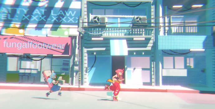 Screenshot preview of in-game navigation in Unbeatable. Two highly stylized illustrated characters are running across an empty, city street.