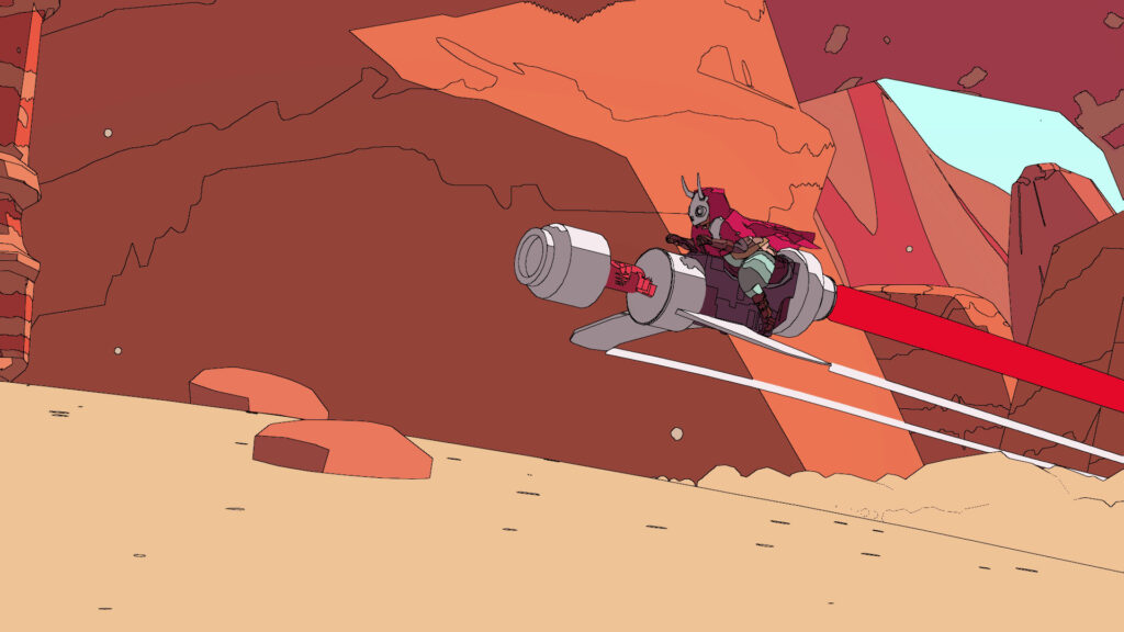 A red cloaked figure wearing a mask with horns rides a small aircraft across a barren, dessert landscape, as terracotta mountains stand in the background.