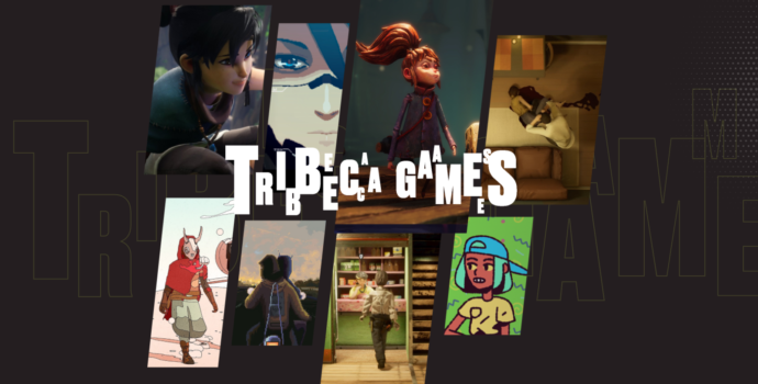 """Collage of assorted thumbnails of different videos displaced behind large text on a solid gray background that says, """"Tribeca Games""""."""