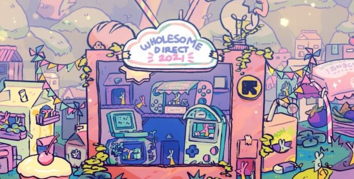 A soft, pastel color themed illustration centered on an old fashion television set with an assortment different video game devices in its screen. The televison sits on a grassy floor surrounded by paper cartons and packaging converted into architecture.
