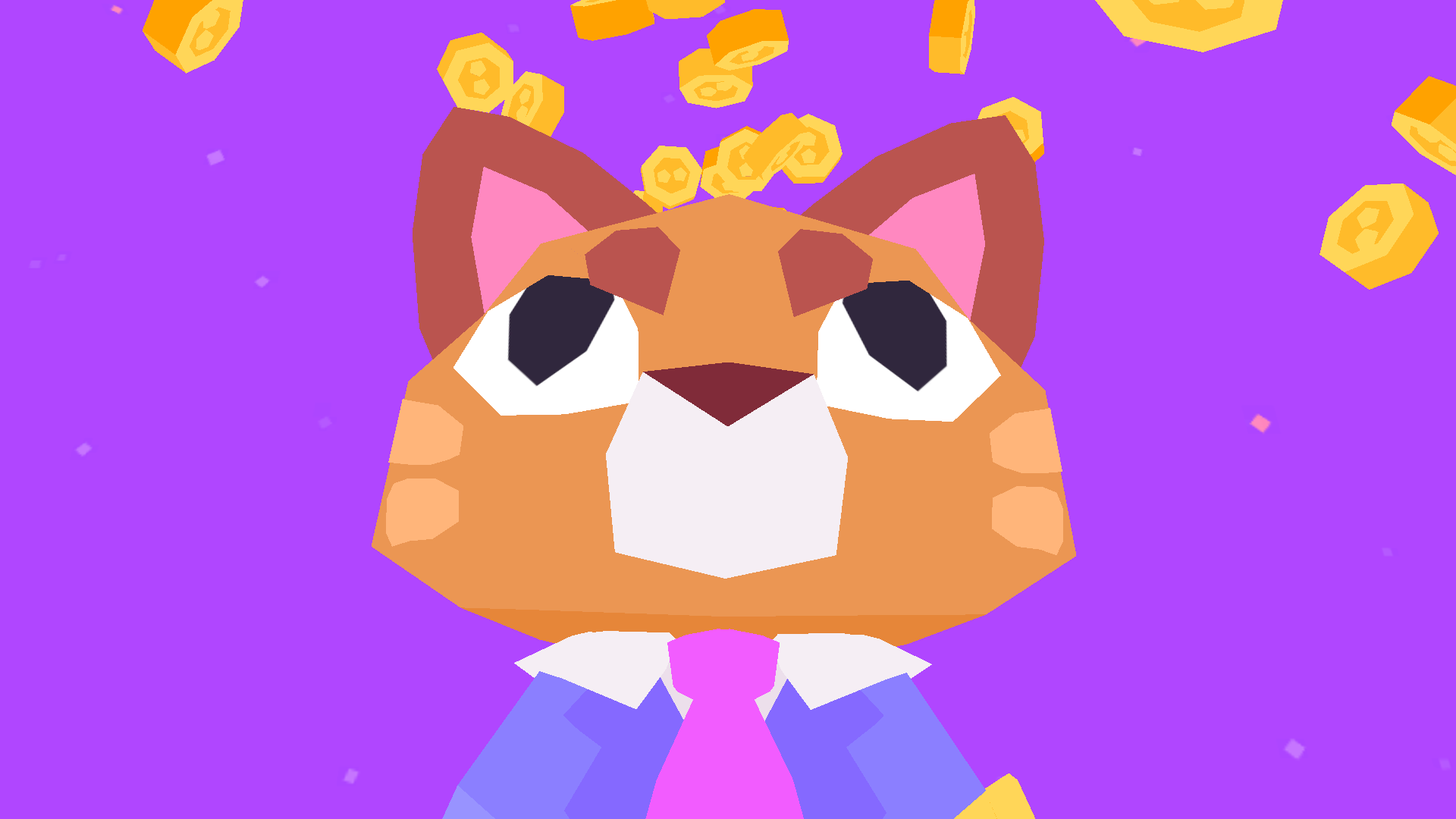 An image of Button City's antagonist on a purple background with money raining behind him