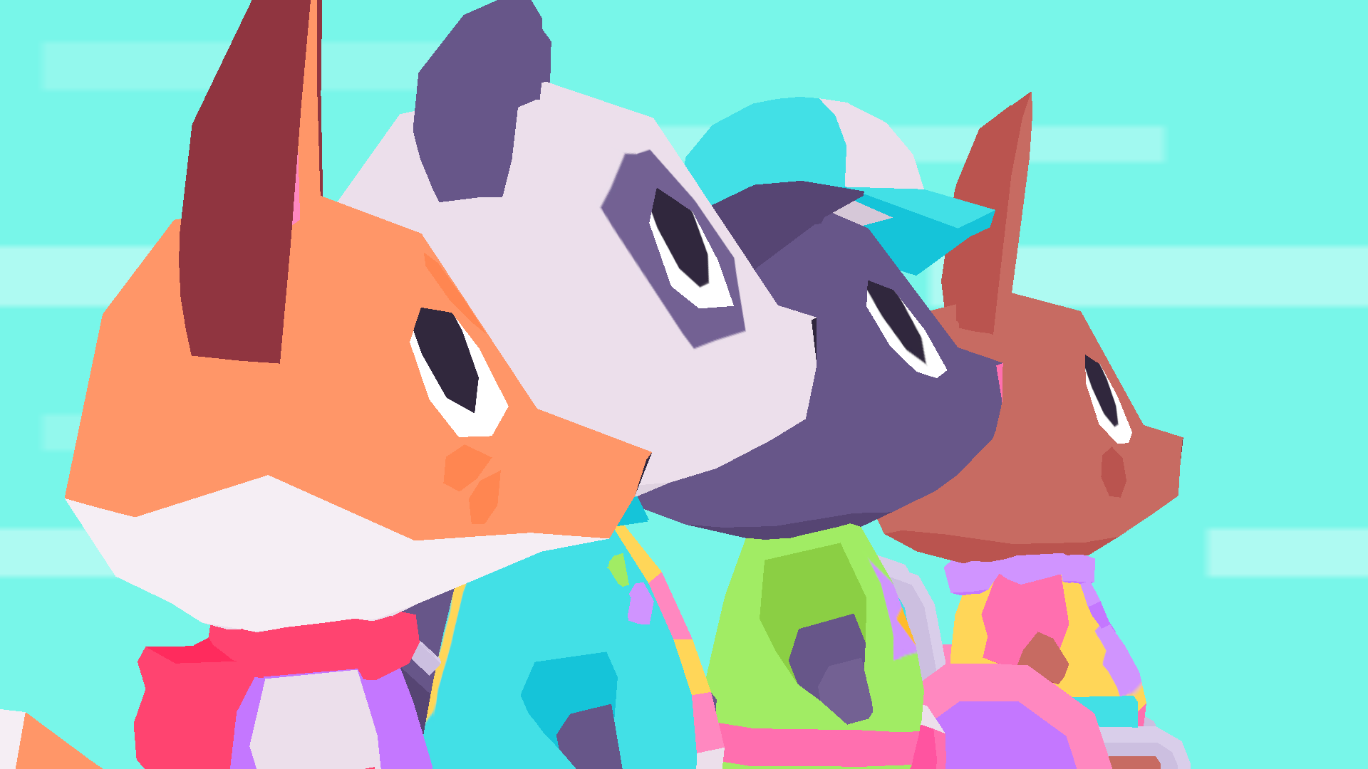 the main cast of Button City in profile view on a blue background