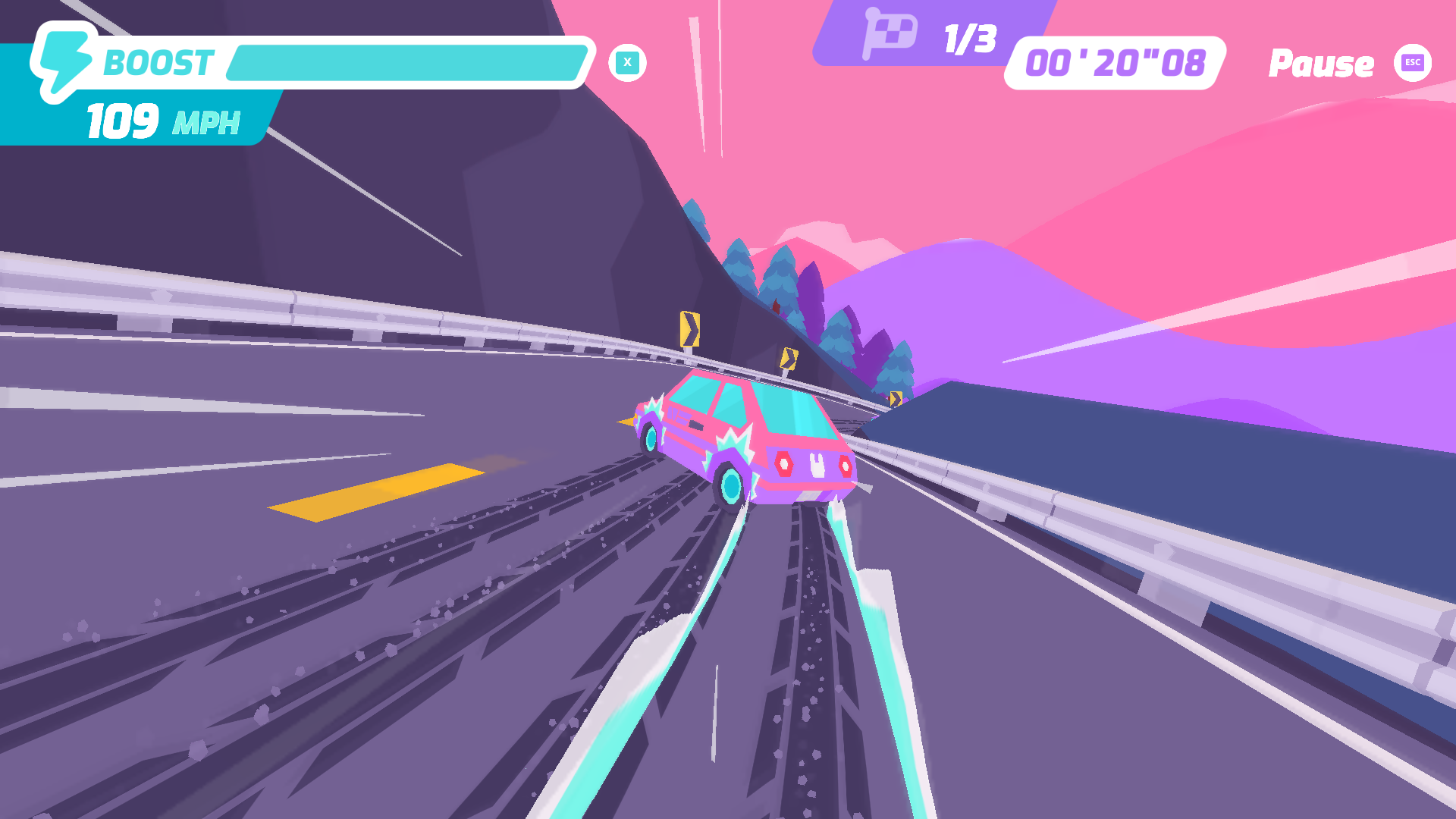 Button City's racing mini-game that lets you drift downhill to gain turbo