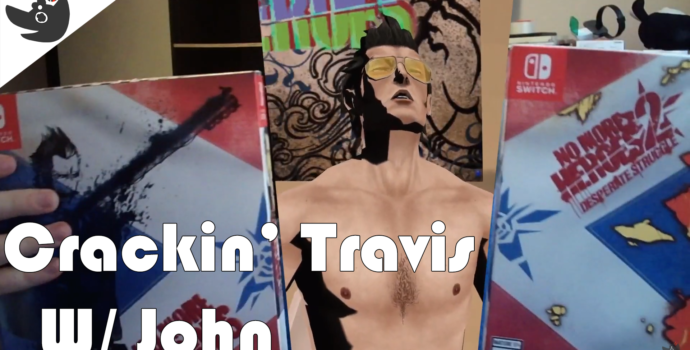 """Travis Touchdown opening Limited Run's No More Heroes 1 and 2 packs, the text says """"Crackin' Travis w/ John"""""""