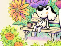 A cartoon dog sits on a wooden bench with a mug and giant paintbrush on both of its sides. The dog is looking up and is surrounded by a colorful array of flora and plant life.