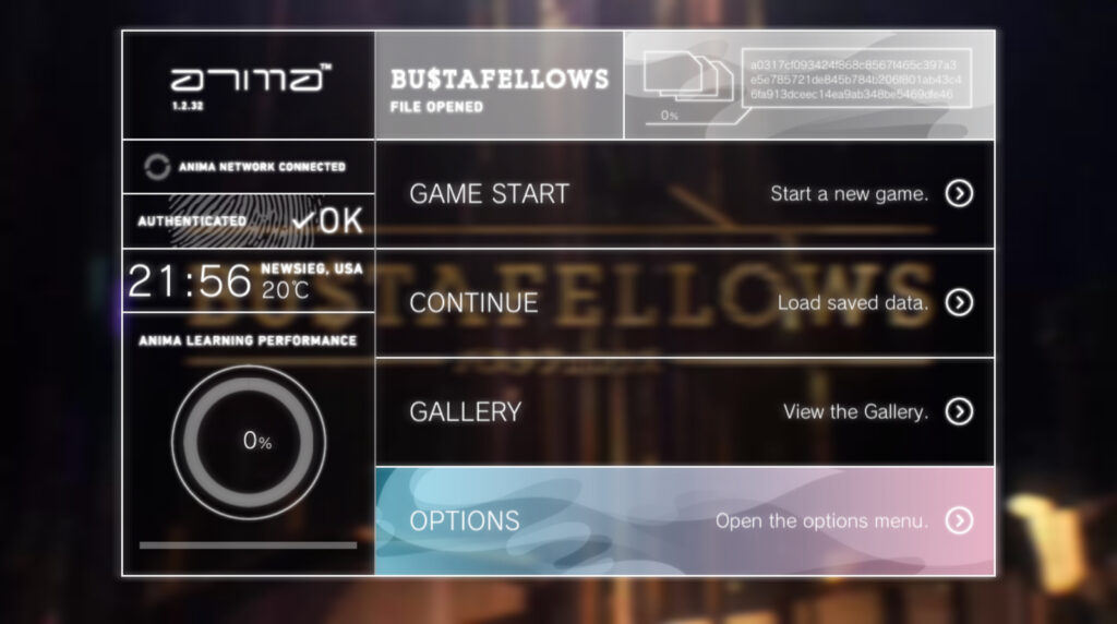 Main menu interface for BUSTAFELLOWS. Buttons that read, 'GAME START', 'CONTINUE', 'GALLERY', and 'OPTIONS' appear vertically on a list.
