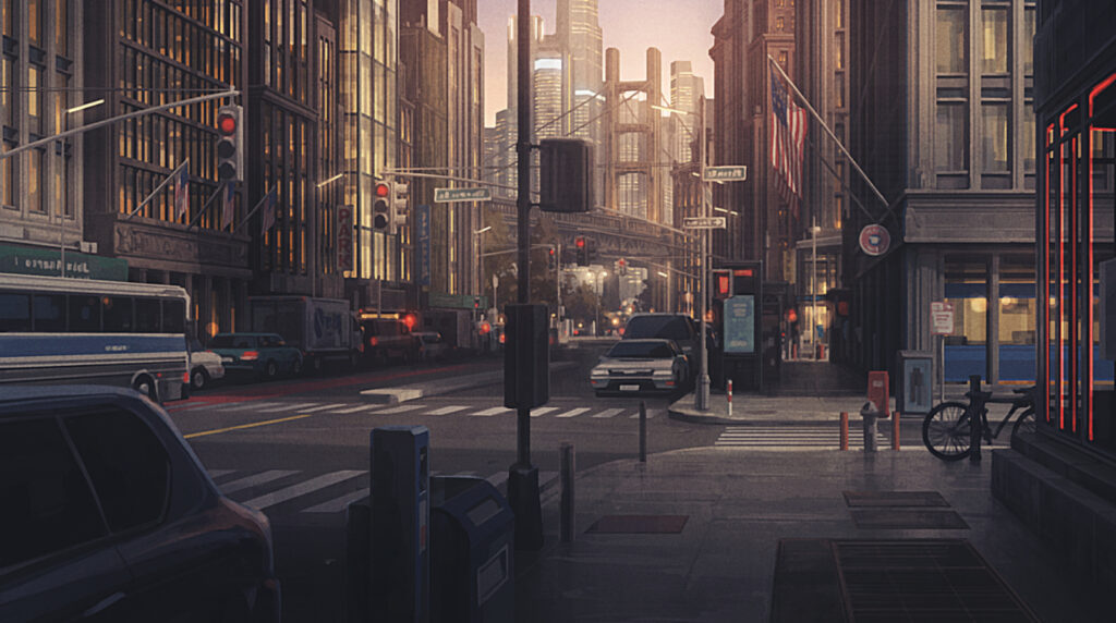 A digitally painted rendering of a city street.