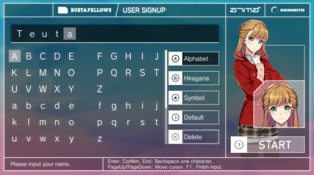 The name customizing screen in BUSTAFELLOWS. 'Teuta' is spelled out in the entry field above a selection of letters. A young woman wearing a red jacket and gingham shorts with tied back, light, brunette hair with pink tips poses on the side.
