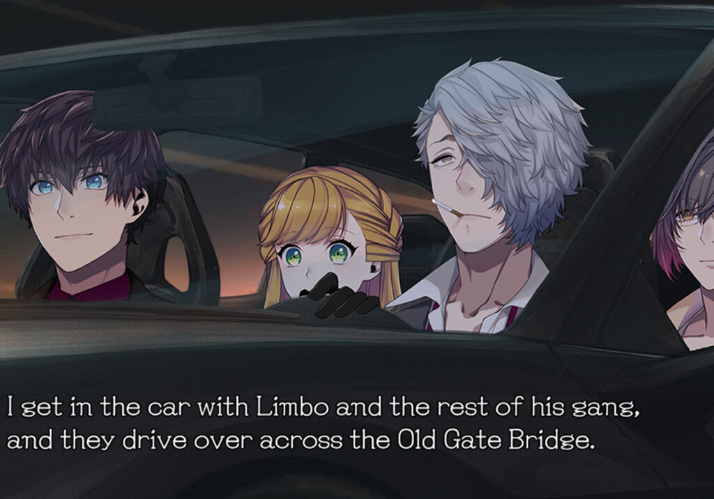 """A group of people seated in a car. A block of text below it read """"I get in the car with Limbo and the rest of his gang, and they drive across the Old Gate Bridge."""""""