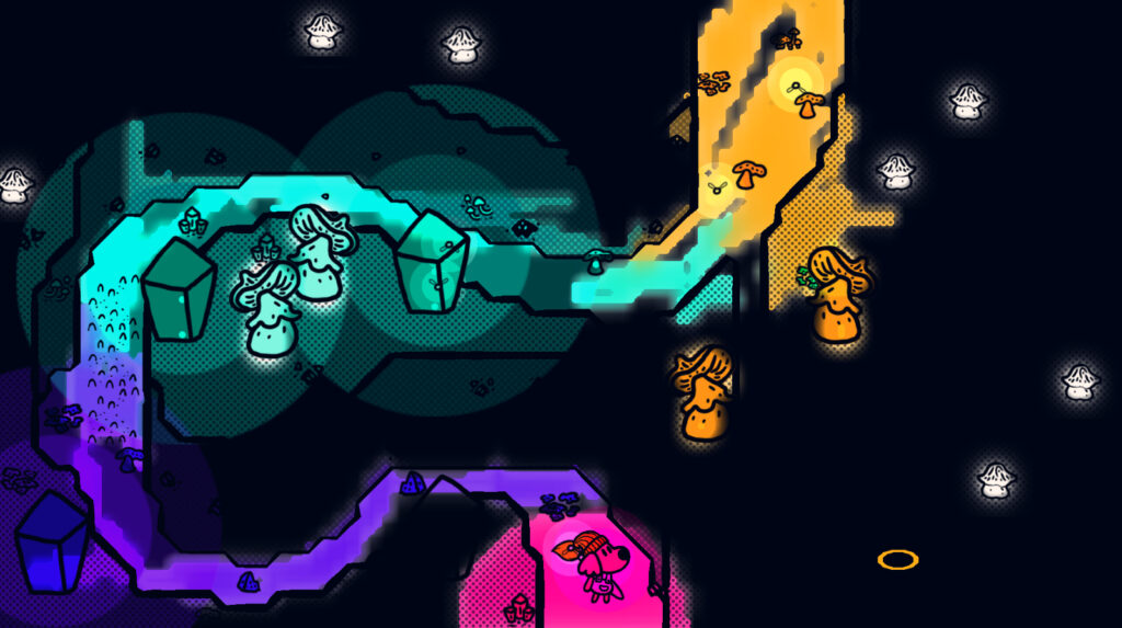 A multi-colored, glowing path winds through a dark cavern. A dog with a giant paintbrush stands at its entrance on the bottom of the frame.