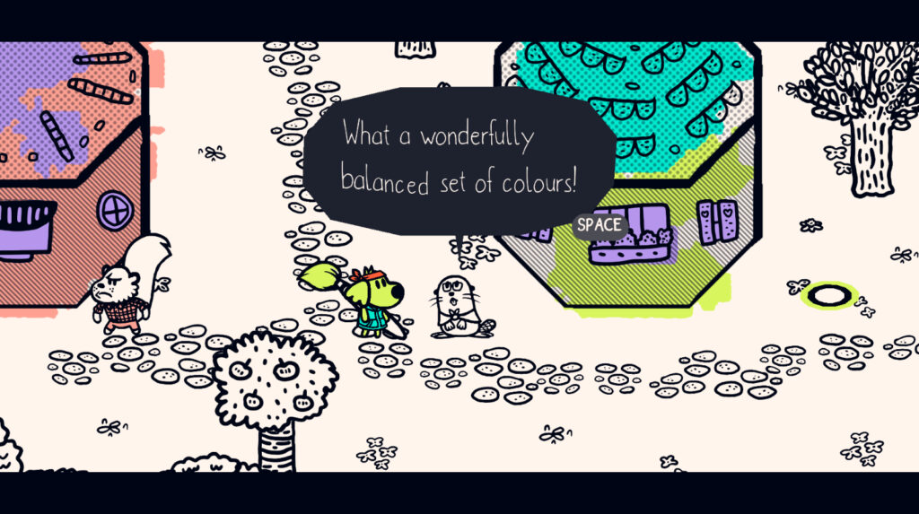 """An anthropomorphic dog holding a giant paintbrush looks towards a beaver-like character as they stand by a path next to a small building. The beaver exclaims, """"What a wonderfully balanced set of colors!"""""""