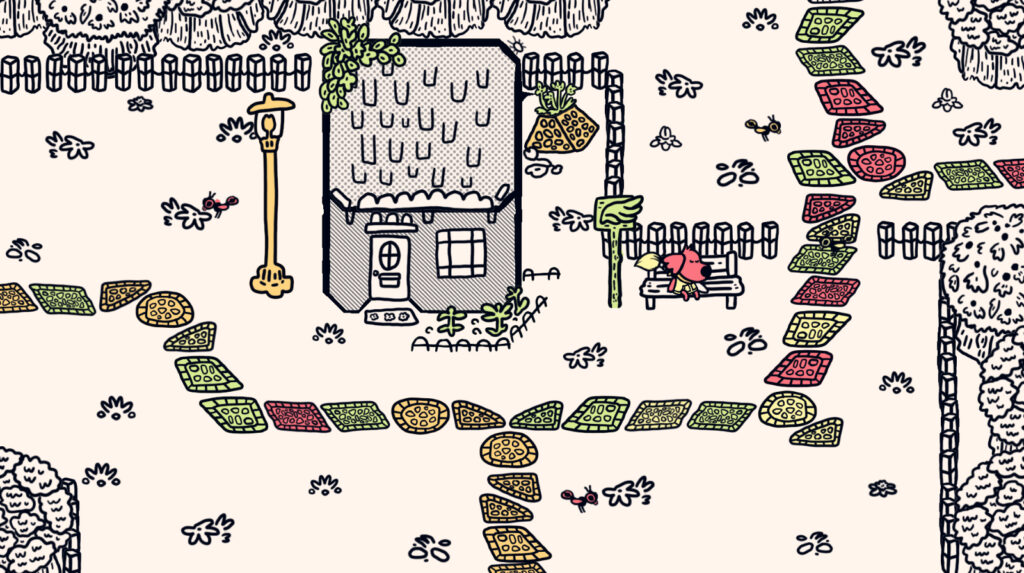 A cartoon like dog has fallen asleep on a bench to the right of a small house. Various colored tiles are scattered across the ground, forming a path circling the house and passing it.