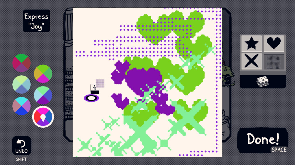 """A white, digital canvas is splattered with green and purple colors forming shapes that resemble dots and hearts. A prompt on the left reads, """"Express 'Joy'"""", with several color palettes below it."""