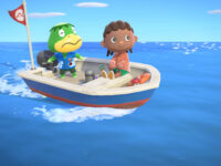 A dark-skinned human with cornrows sits on the edge of a boat looking towards the sea. Behind them, an amphibian-like creature stands and steers the boat.